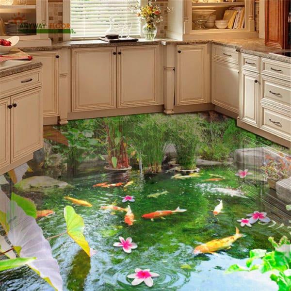 Напольное покрытие с рисунком Обои, Линолеум БОЛЬШОЙ ПРУД ВОДОПАД КАМНИ в интерьере кухни