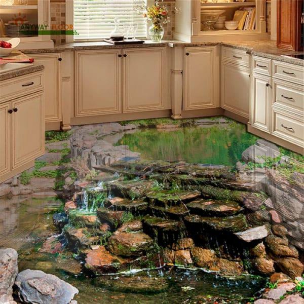 Напольное покрытие с рисунком Обои, Линолеум ПРУД ВОДОПАД КАМНИ в интерьере кухни