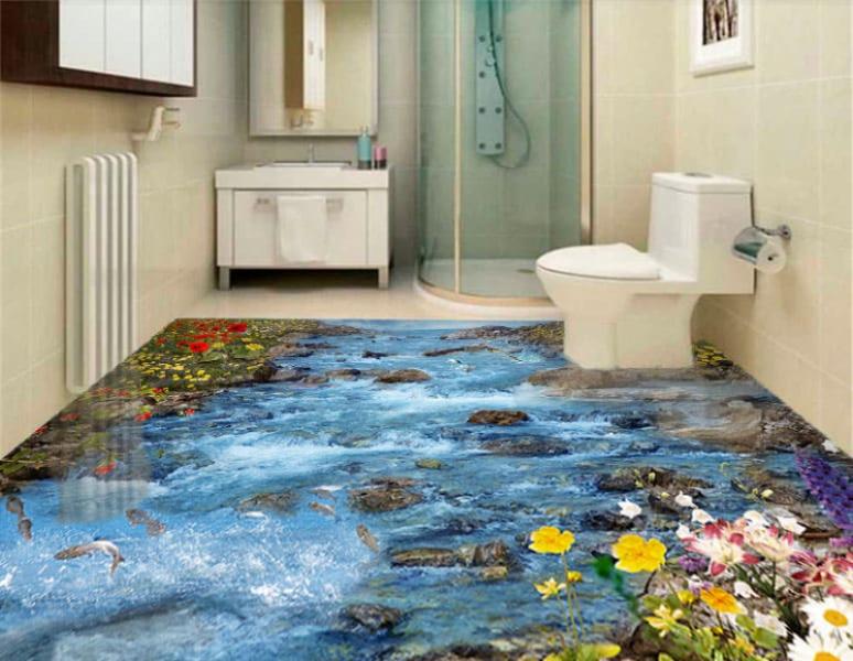 Напольное покрытие с рисунком Обои, Линолеум БУРНАЯ РЕКА КАМНИ ЦВЕТЫ РЫБКИ в интерьере туалета