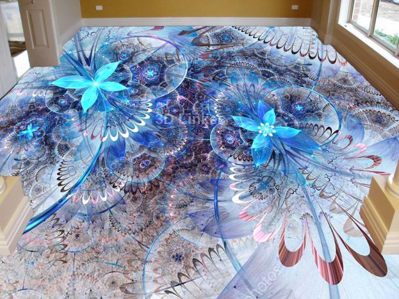 """3d обои для пола """"Бабочки, синий цвет"""" купить в интерьере №1"""