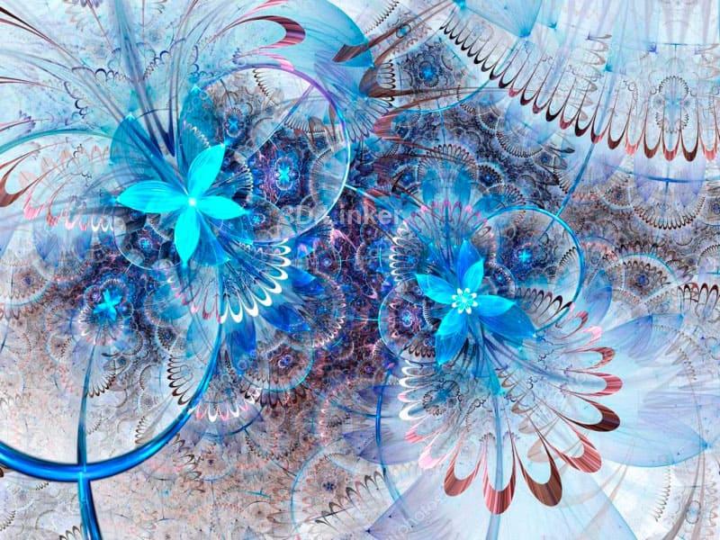 """3d обои для пола """"Бабочки, синий цвет"""" купить в интерьере №2"""