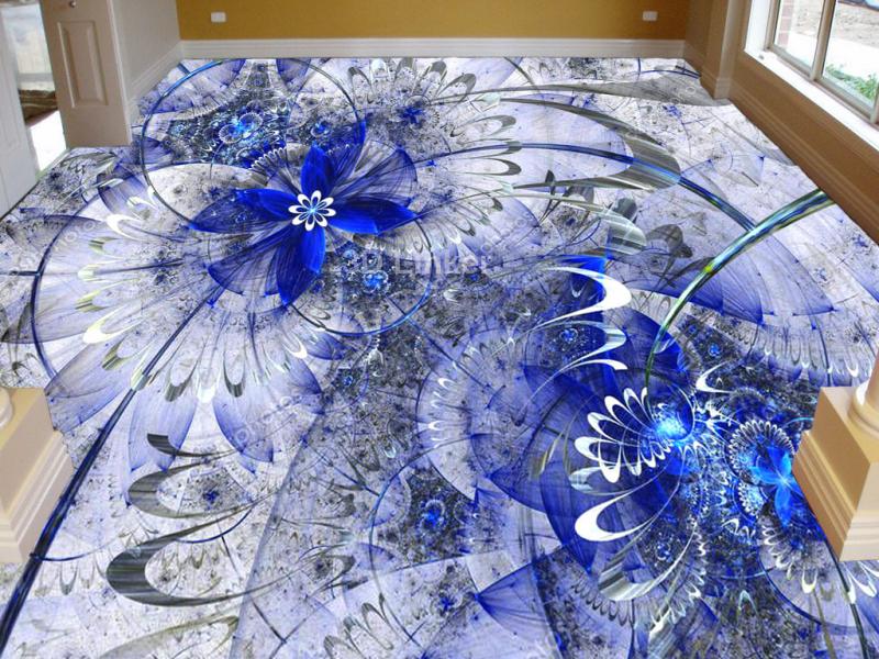 """3d обои для пола """"Синие цветы, узоры"""" купить в интерьере №1"""