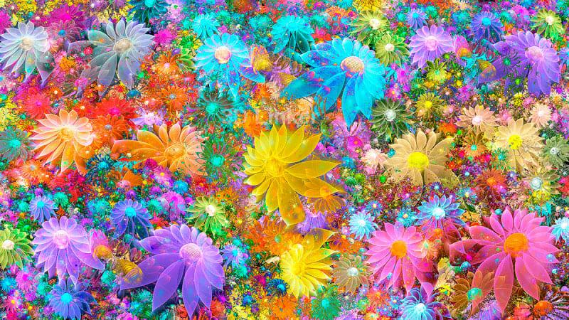 """3d обои для пола """"Сказочное поле цветов"""" купить в интерьере №1"""