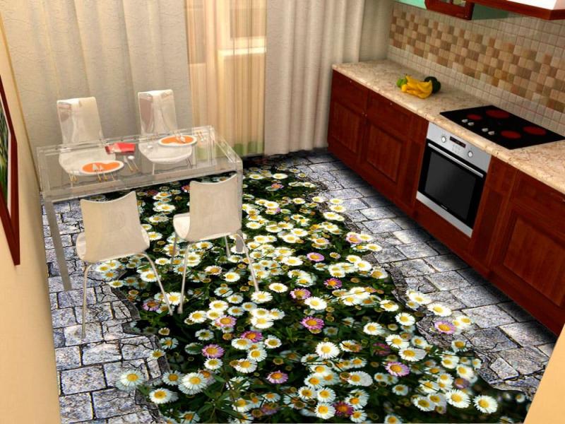 Напольное покрытие с рисунком Обои, Линолеум РОМАШКИ ТРЕЩИНА БРУСЧАТКА в кухню