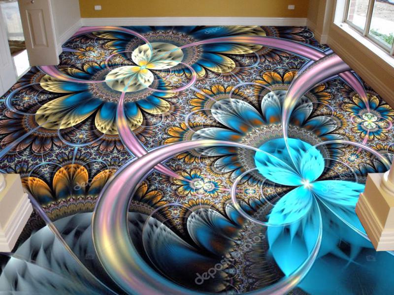 """3d обои для пола """"Бабочки, круги, голубой"""" купить в интерьере №1"""