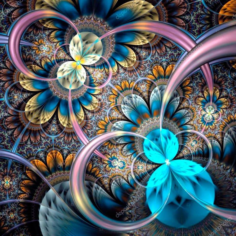 """3d обои для пола """"Бабочки, круги, голубой"""" купить"""