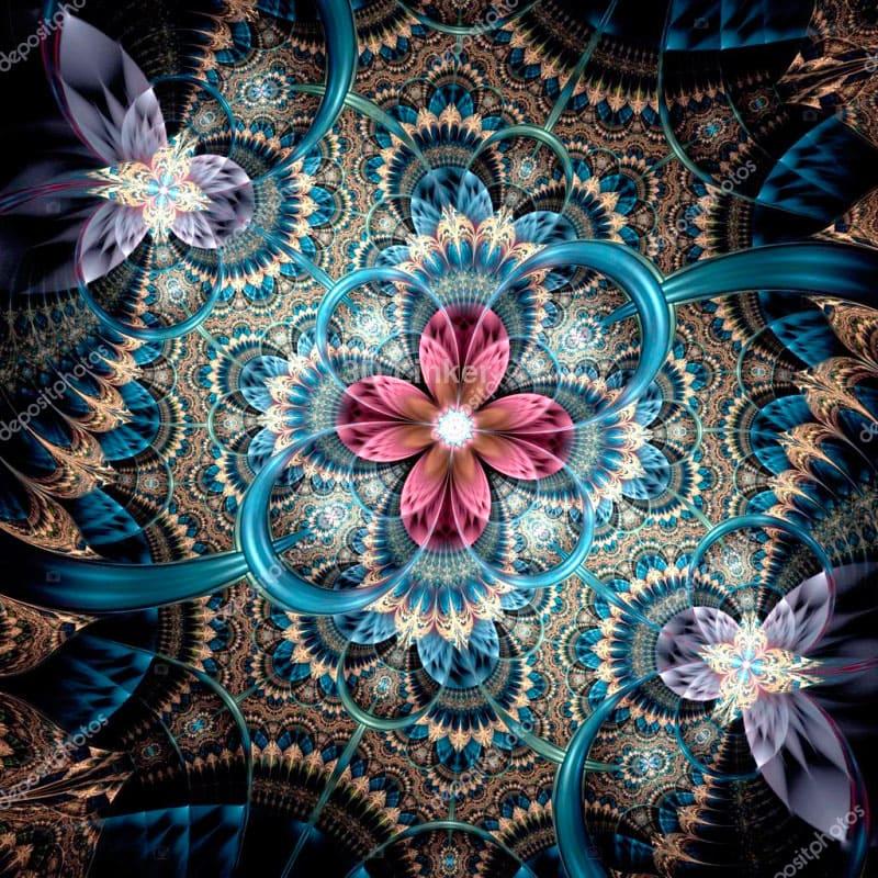 """3d обои для пола """"Розовый цветок, голубые ленты"""" купить в интерьере №3"""