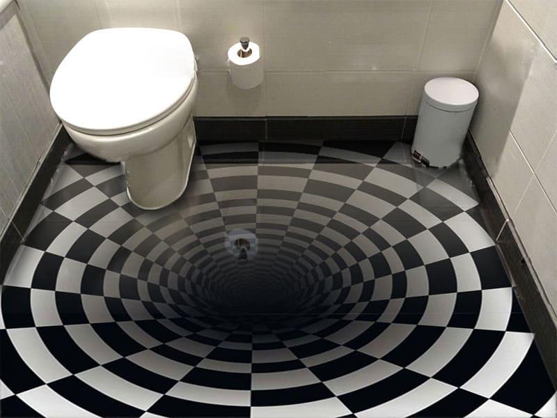 Обои для пола с необычным рисунком ШАХМАТНАЯ ВОРОНКА в интерьере туалета