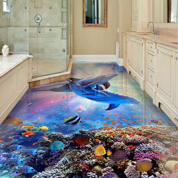 Напольное покрытие с рисунком Обои, Линолеум МОРСКОЕ ДНО ДЕЛЬФИНЫ ЯРКИЙ СВЕТ в интерьере ванной комнаты