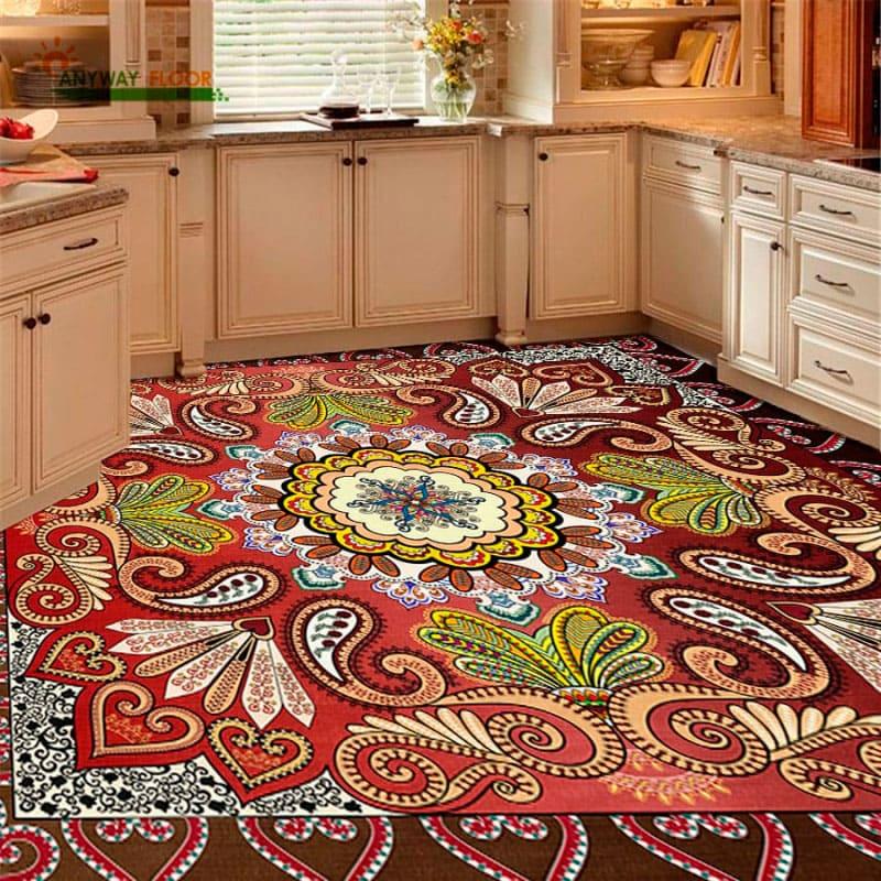 Напольное покрытие с рисунком Обои, Линолеум КОВРОВЫЙ РИСУНОК УЗОРЫ на кухне