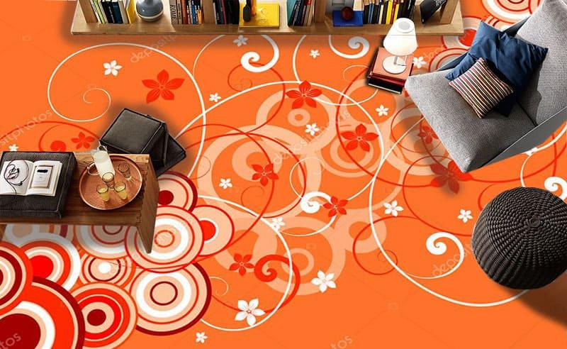 Напольное покрытие с рисунком Обои, Линолеум ОРАНЖЕВЫЙ ФОН КРУГИ в интерьере №3