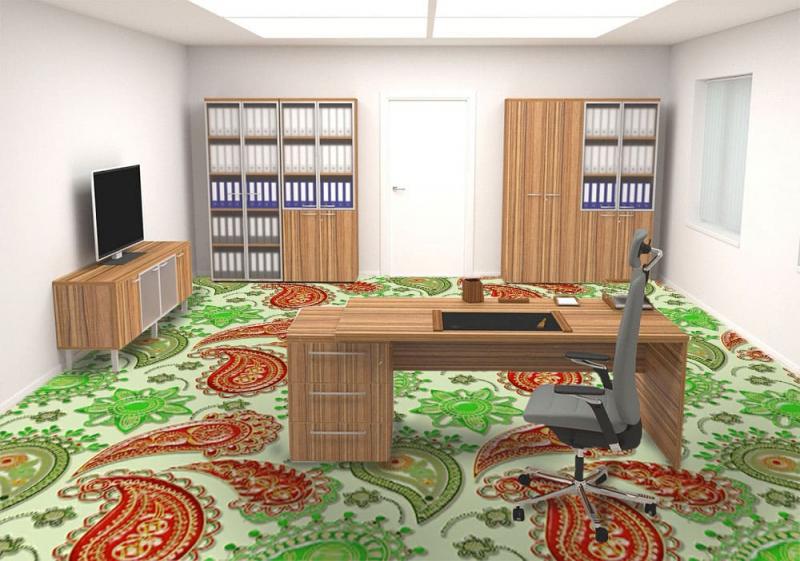Напольное покрытие с рисунком Обои, Линолеум ВОСТОЧНЫЙ УЗОР 3D в кабинете