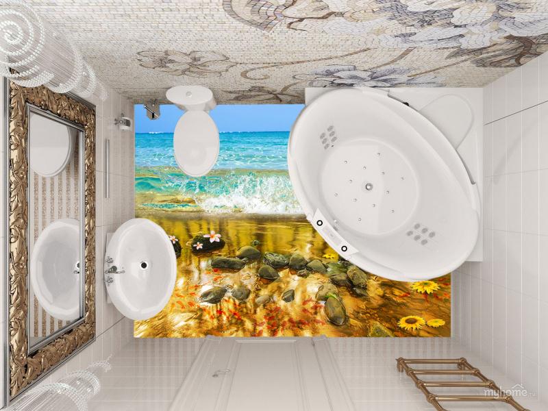 Напольное покрытие с рисунком Обои, Линолеум ВОДА МОРЕ ВОЛНА КАМНИ РЫБКИ ЦВЕТЫ в туалете и ванной комнате