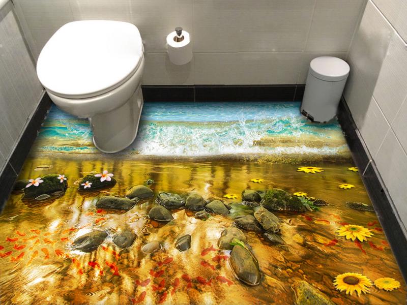 Напольное покрытие с рисунком Обои, Линолеум ВОДА МОРЕ ВОЛНА КАМНИ РЫБКИ ЦВЕТЫ в туалете №2