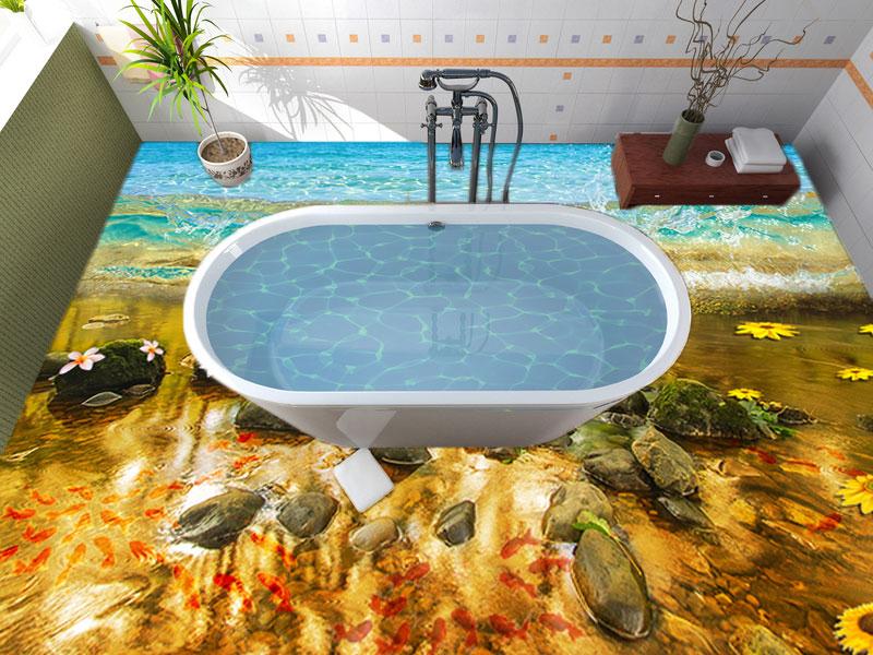Напольное покрытие с рисунком Обои, Линолеум ВОДА МОРЕ ВОЛНА КАМНИ РЫБКИ ЦВЕТЫ в ванной комнате