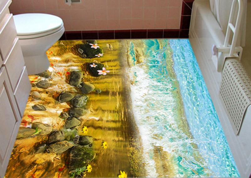 Напольное покрытие с рисунком Обои, Линолеум ВОДА МОРЕ ВОЛНА КАМНИ РЫБКИ ЦВЕТЫ в туалете №1