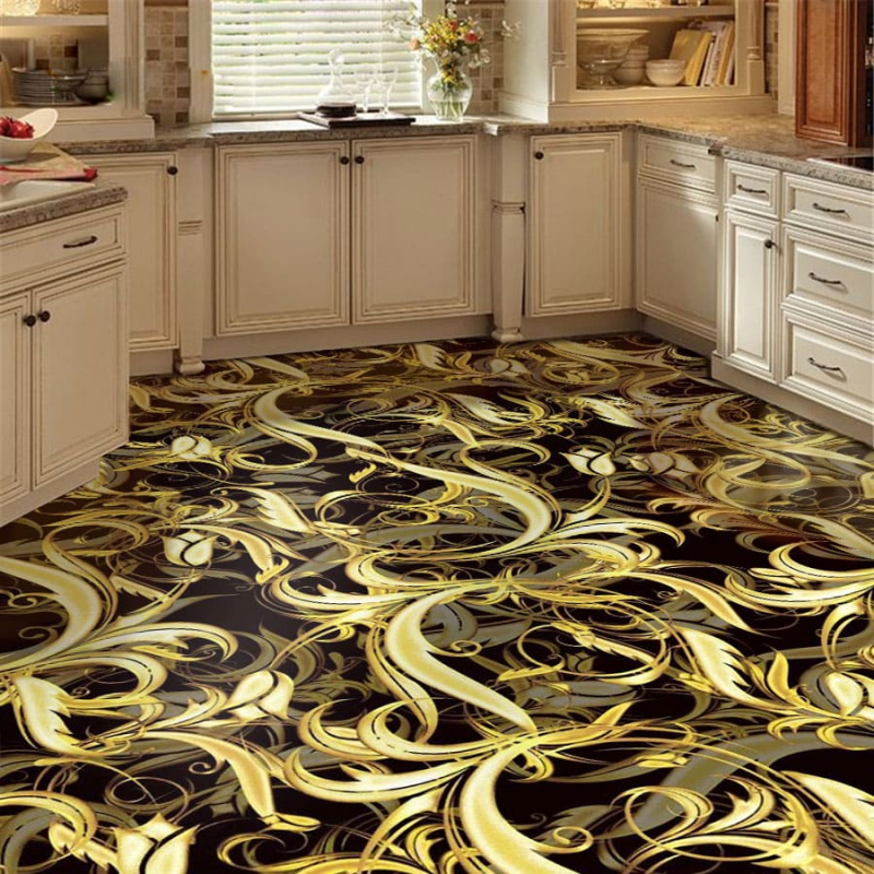 Напольное покрытие с рисунком Обои, Линолеум ЗОЛОТЫЕ УЗОРЫ НА ЧЕРНОМ в кухне