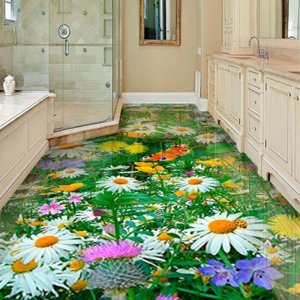 Напольное покрытие с рисунком ЦВЕТЫ РОМАШКОВОЕ ПОЛЕ БАБОЧКИ в интерьере ванной
