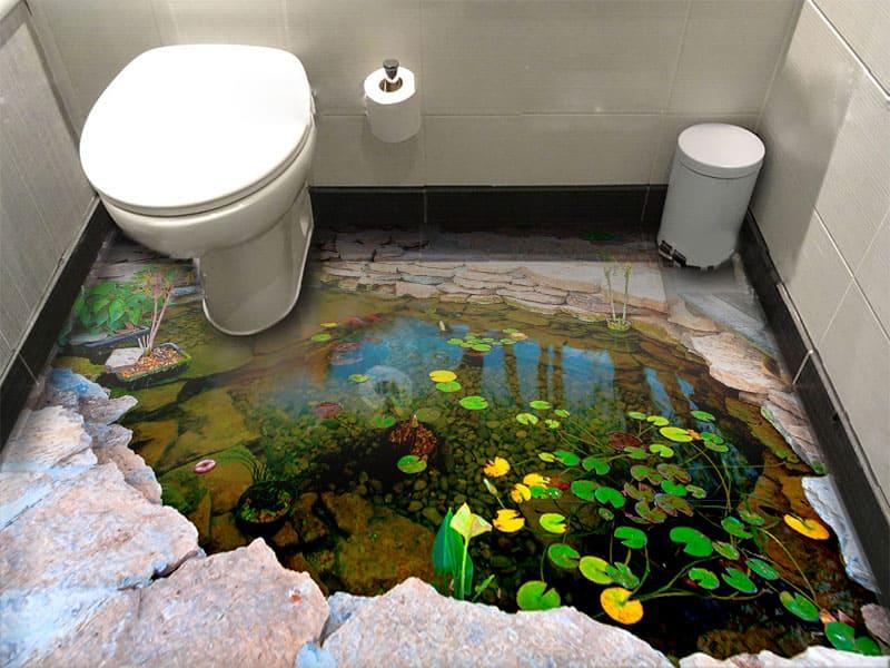 Напольное покрытие с рисунком Обои, Линолеум ПРУД КАМНИ РЫБКИ ЦВЕТЫ в интерьере туалета