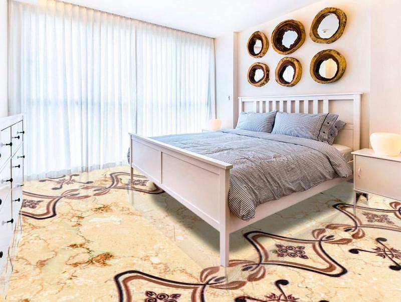 Напольное покрытие с рисунком Обои, Линолеум УЗОР РОМБОМ НА МРАМОРЕ в спальне