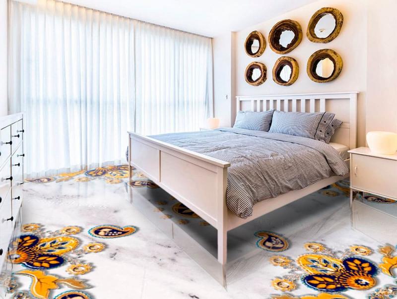 Напольное покрытие с рисунком Обои, Линолеум УЗОРЫ НА БЕЛОМ МРАМОРЕ в интерьере спальни