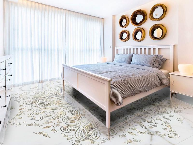 Напольное покрытие с рисунком Обои, Линолеум БЛЕСТКИ УЗОР НА МРАМОРЕ в интерьере спальной комнаты