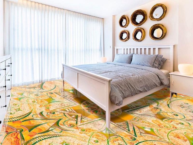 Напольное покрытие с рисунком Обои, Линолеум УЗОР КРЕСТОМ НА МРАМОРЕ в спальне