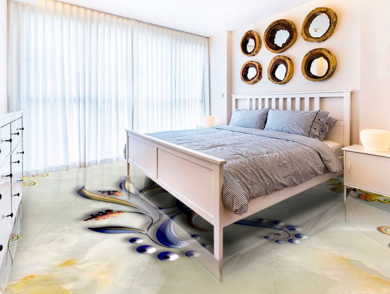 Напольное покрытие с рисунком Обои, Линолеум ПТИЧКА НА МРАМОРЕ в спальне