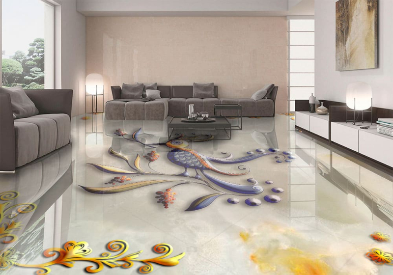 Напольное покрытие с рисунком Обои, Линолеум ПТИЧКА НА МРАМОРЕ в гостиной