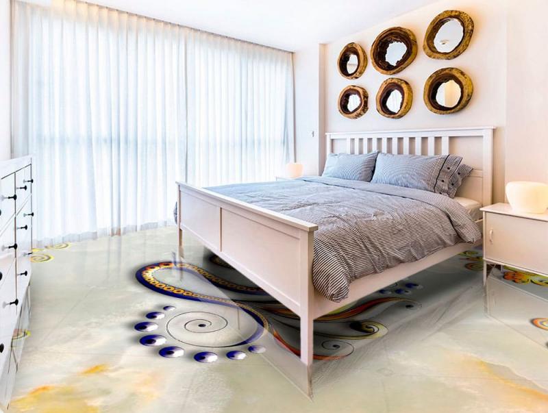 Напольное покрытие с рисунком Обои, Линолеум ЗМЕЯ НА МРАМОРЕ в интерьере спальне