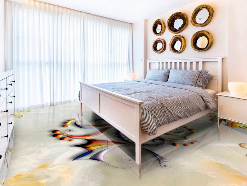 Напольное покрытие с рисунком Обои, Линолеум БАБОЧКА НА МРАМОРЕ в интерьере спальни