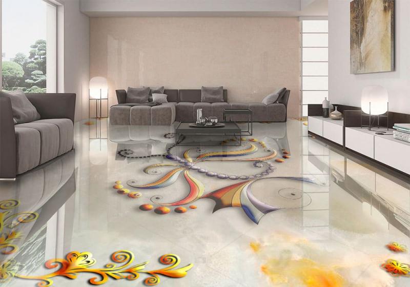 Напольное покрытие с рисунком Обои, Линолеум БАБОЧКА НА МРАМОРЕ в интерьере гостиной