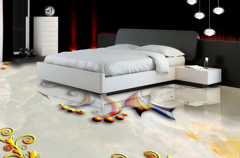 Напольное покрытие с рисунком Обои, Линолеум БАБОЧКА НА МРАМОРЕ в интерьере спальной комнаты