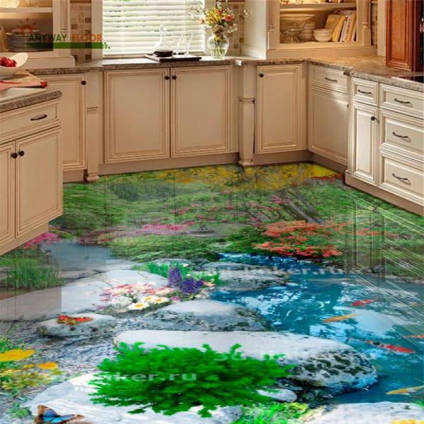 Напольное покрытие с рисунком Обои, Линолеум ЛЕС ПРУД КАМНИ РЫБКИ ЦВЕТЫ в интерьере кухни