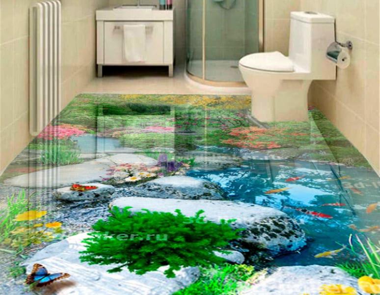 Напольное покрытие с рисунком Обои, Линолеум ЛЕС ПРУД КАМНИ РЫБКИ ЦВЕТЫ в интерьере туалета