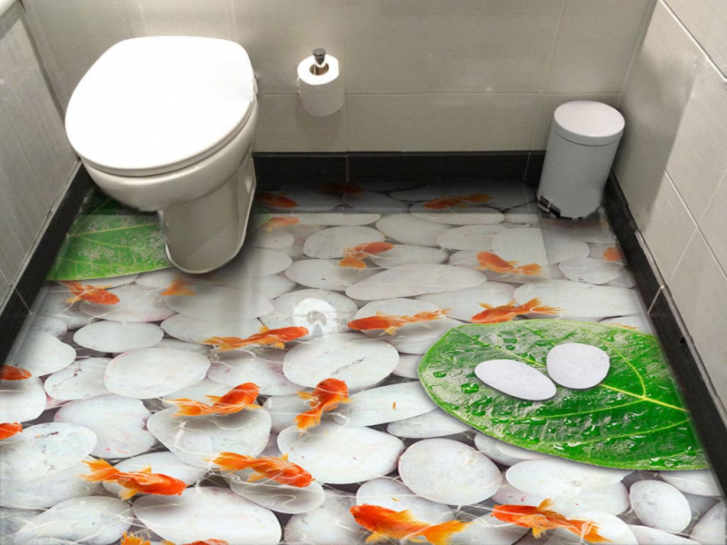 Напольное покрытие с рисунком Обои, Линолеум КРАСНЫЕ РЫБКИ ПОД ВОДОЙ БЕЛЫЕ КАМНИ в интерьере туалета
