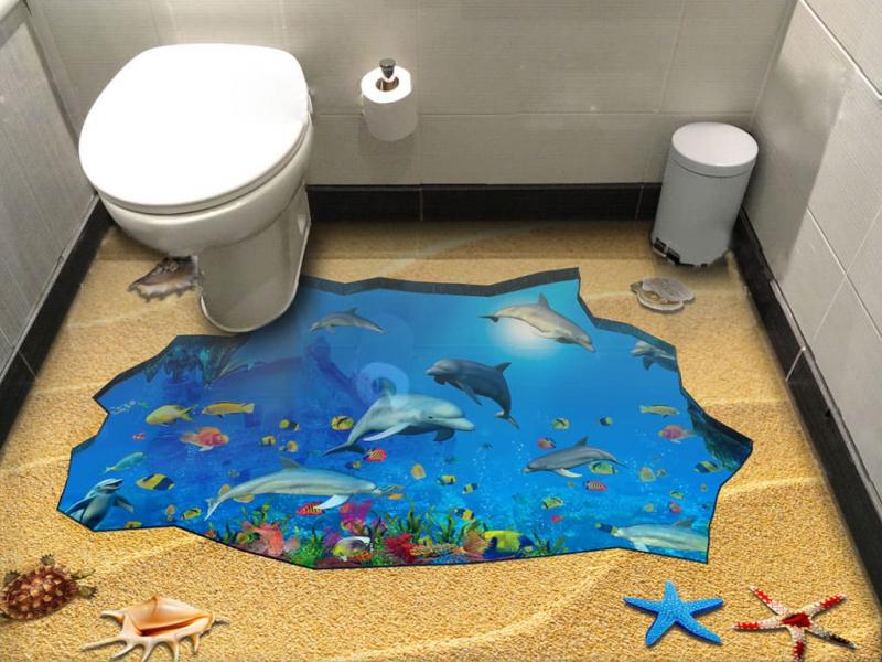 Напольное покрытие с рисунком Обои, Линолеум ЯМА ПЕСОК МОРСКОЕ ДНО ДЕЛЬФИНЫ в интерьере туалета