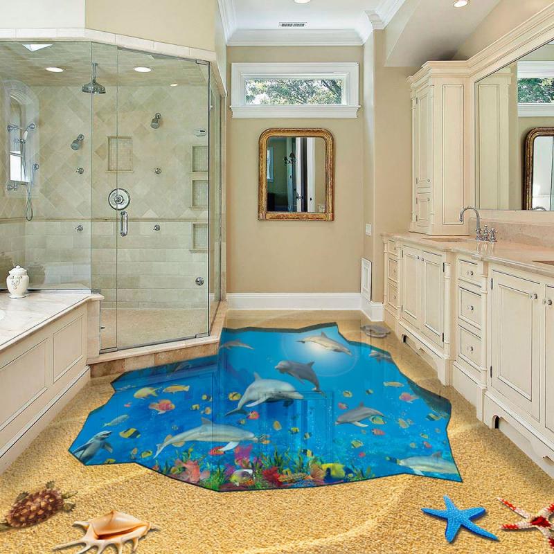 Напольное покрытие с рисунком Обои, Линолеум ЯМА ПЕСОК МОРСКОЕ ДНО ДЕЛЬФИНЫ в интерьере ванной комнаты