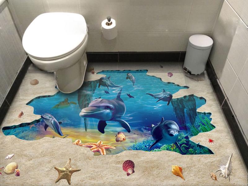 Напольное покрытие с рисунком Обои, Линолеум ТРЕЩИНА ПЕСОК МОРСКОЕ ДНО ДЕЛЬФИНЫ в интерьере туалета