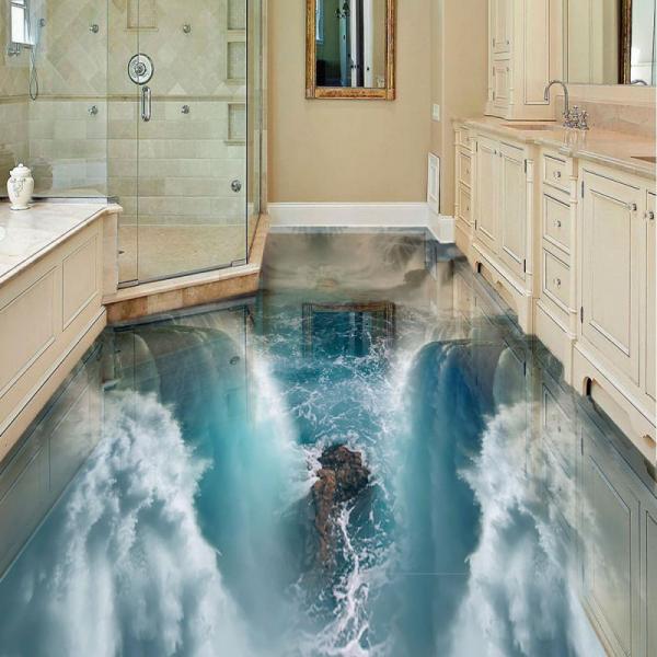 Напольное покрытие с рисунком Обои, Линолеум ВЫСОКИЙ ВОДОПАД ПЕНА в интерьере ванной