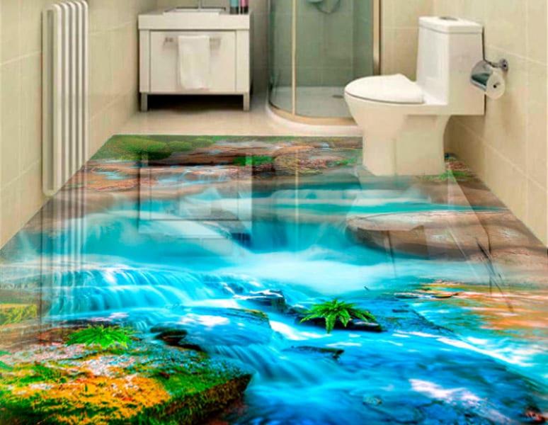 Напольное покрытие с рисунком Обои, Линолеум ВОДОПАД КАМНИ ГОЛУБАЯ ВОДА в интерьере туалета