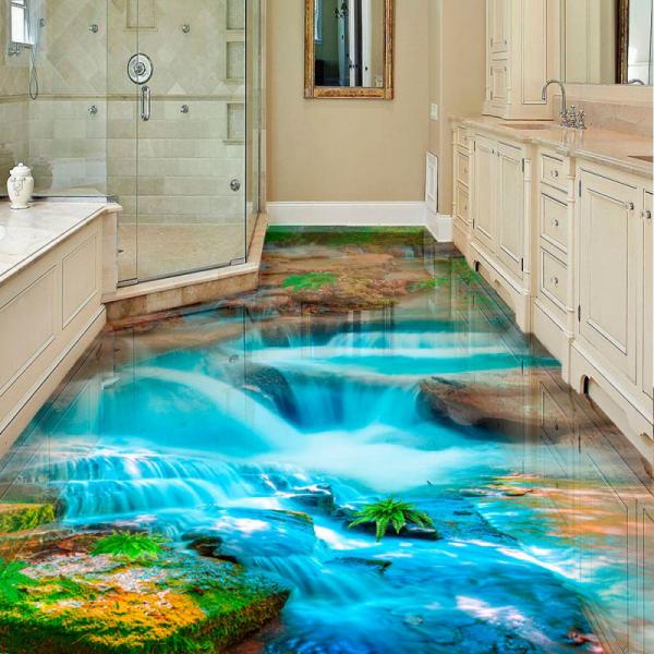 Напольное покрытие с рисунком Обои, Линолеум ВОДОПАД КАМНИ ГОЛУБАЯ ВОДА в интерьере ванной комнаты