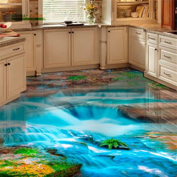 Напольное покрытие с рисунком Обои, Линолеум ВОДОПАД КАМНИ ГОЛУБАЯ ВОДА в интерьере кухни