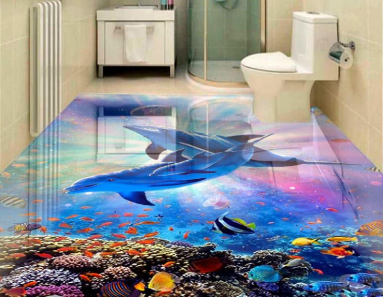 Напольное покрытие с рисунком Обои, Линолеум МОРСКОЕ ДНО ДЕЛЬФИНЫ ЯРКИЙ СВЕТ в интерьере туалета
