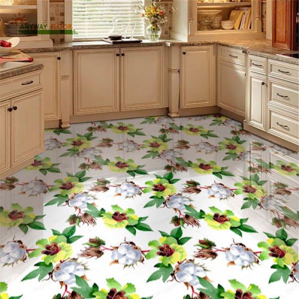 Напольное покрытие Обои, Линолеум с рисунком ХЛОПКОВЫХ ЦВЕТОВ в интерьере кухни
