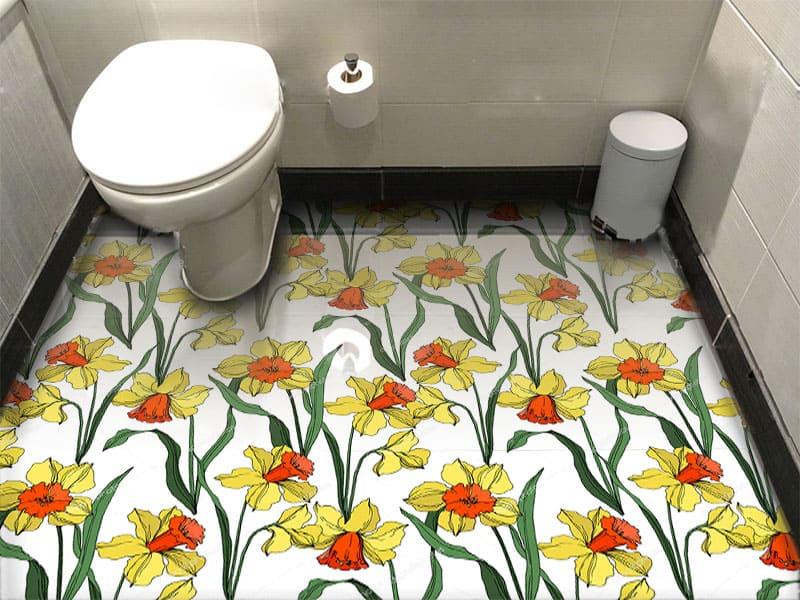 Напольное покрытие с рисунком Обои, Линолеум НАРЦИССЫ в интерьере туалета