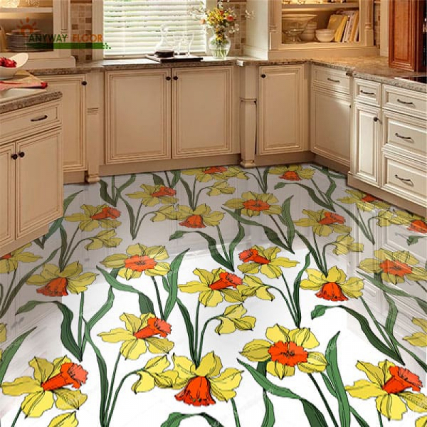 Напольное покрытие с рисунком Обои, Линолеум НАРЦИССЫ в интерьере кухни
