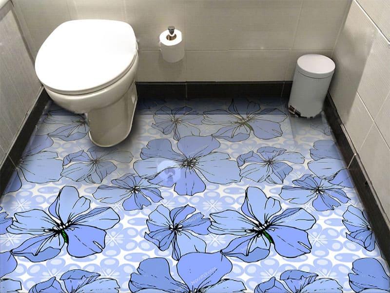 Напольное покрытие с рисунком Обои, Линолеум ВАСИЛЬКИ в интерьере туалета