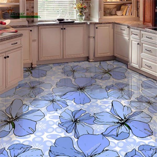 Напольное покрытие с рисунком Обои, Линолеум ВАСИЛЬКИ в интерьере кухни