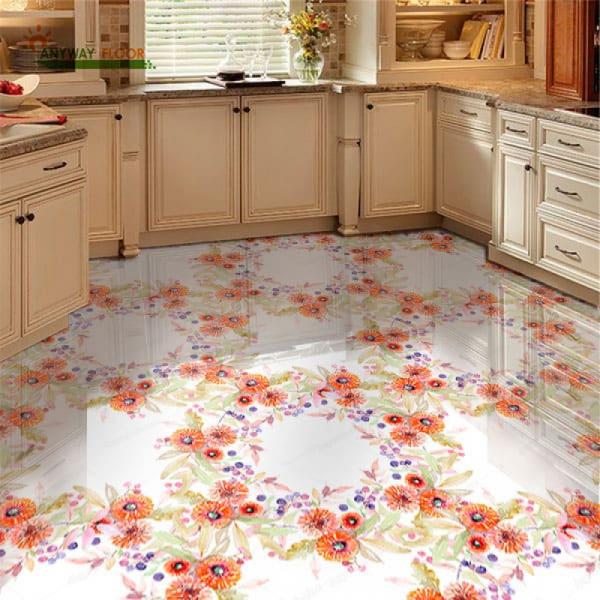 Напольное покрытие с рисунком Обои, Линолеум УЗОР ИЗ ЦВЕТОВ в интерьере кухни